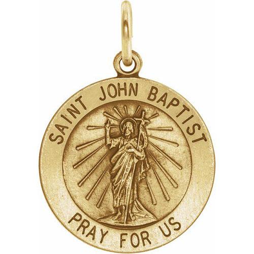 14kt Yellow Gold 12mm St. John the Baptist Medal