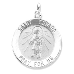 Sterling Silver 18.5mm St. Edward Medal & 18in Chain