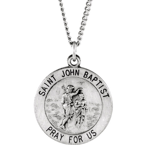 Sterling Silver 18.5mm St. John the Baptist Medal & 18in Chain