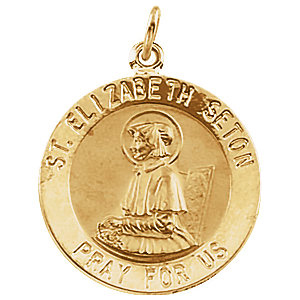 14kt Yellow Gold 12mm St. Elizabeth Seton Medal