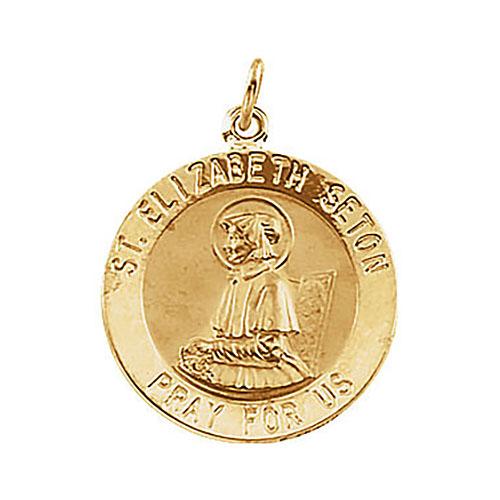 14kt Yellow Gold 18mm St. Elizabeth Seton Medal