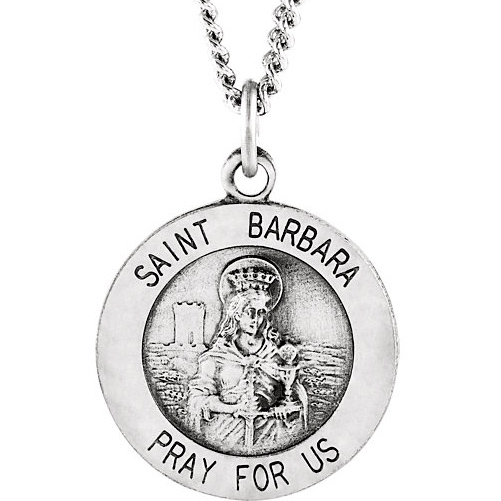 Sterling Silver 15mm St. Barbara Medal & 18in Chain