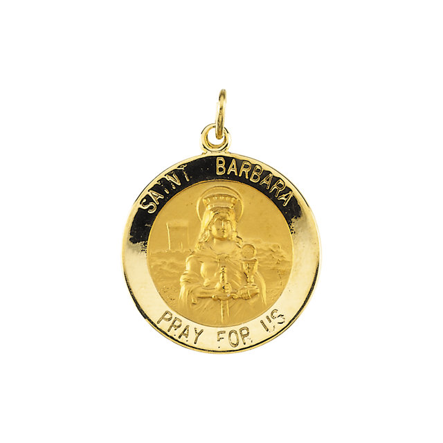 14kt Yellow Gold 18mm St. Barbara Medal