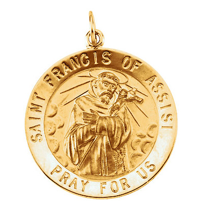 14kt Gold St. Francis of Assisi Medal 15mm
