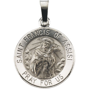14kt White Gold 15mm St. Francis of Assisi Medal