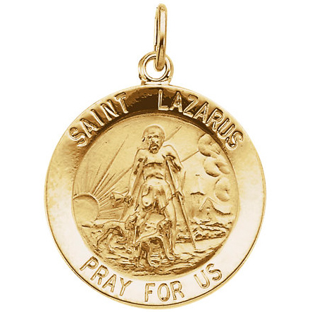 14kt Yellow Gold 18mm St. Lazarus Medal