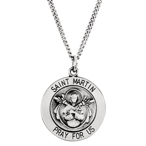 Sterling Silver 18.25mm St. Martin Medal & 18in Chain