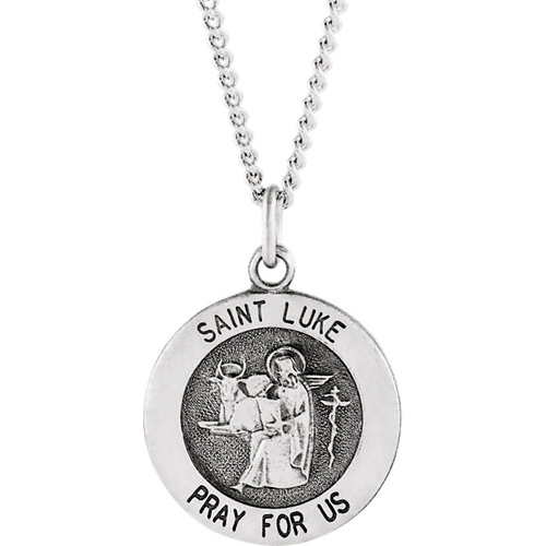 Sterling Silver 18mm St. Luke Medal and Chain