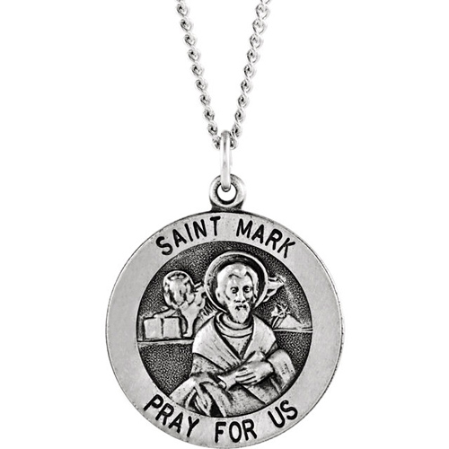 Sterling Silver 18.25mm St. Mark Medal & 18in Chain