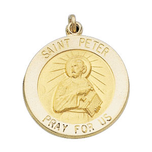 14kt Yellow Gold 12mm Round St. Peter Medal