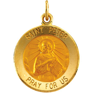 14kt Yellow Gold 15mm St. Peter Medal - Clearance