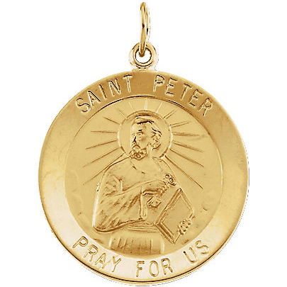 14kt Yellow Gold 25mm Round St. Peter Medal