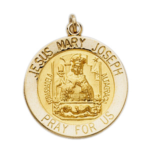 14kt Yellow Gold Jesus 15mm Mary Joseph Medal