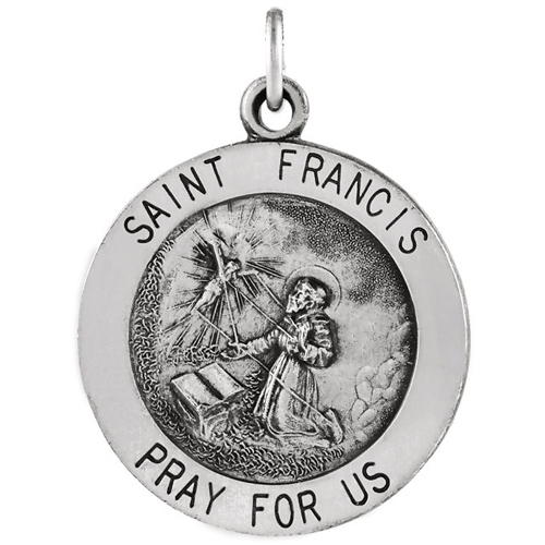 Sterling Silver 18.5mm St. Francis Medal and 18in Chain
