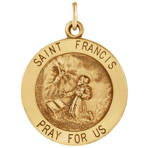 14kt Yellow Gold 25mm Round St. Francis Medal