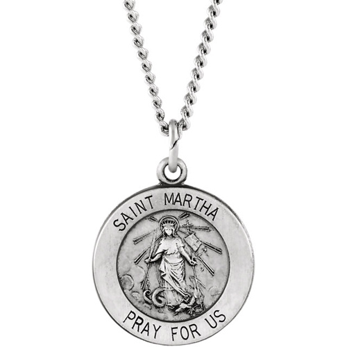 Sterling Silver 18.5mm St. Martha Medal & 18in Chain