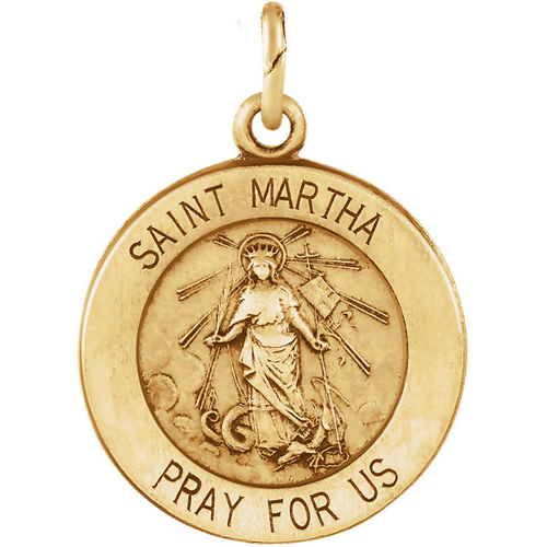 14kt Yellow Gold 18mm St. Martha Medal - Clearance