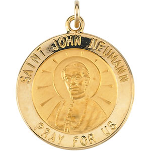 14k Yellow Gold St. John Neumann Medal 12mm