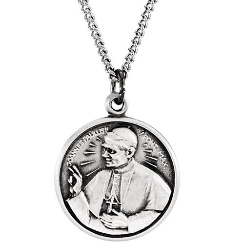 Sterling Silver Pope John Paul Medal 13.75mm