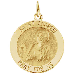 14kt Yellow Gold 18mm St. Andrew Medal