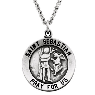 Sterling Silver 18.25mm St. Sebastian Medal & 18in Chain