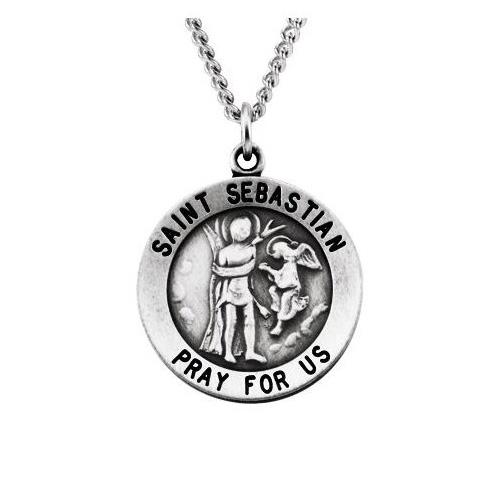 Sterling Silver 18.25mm St. Sebastian Medal & 18in Chain