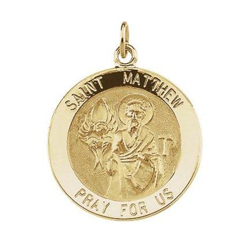 14kt Yellow Gold 12mm St. Matthew Medal