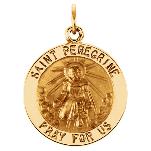 14kt Yellow Gold 1in St. Peregrine Medal