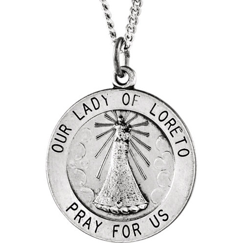Sterling Silver 18.25mm Lady of Loreto Medal & 18in Chain