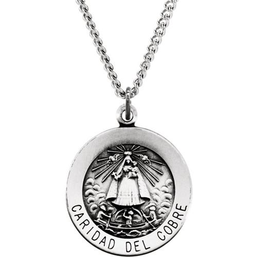 Sterling Silver 3/4in Caridad Del Cobre Medal & 18in Chain