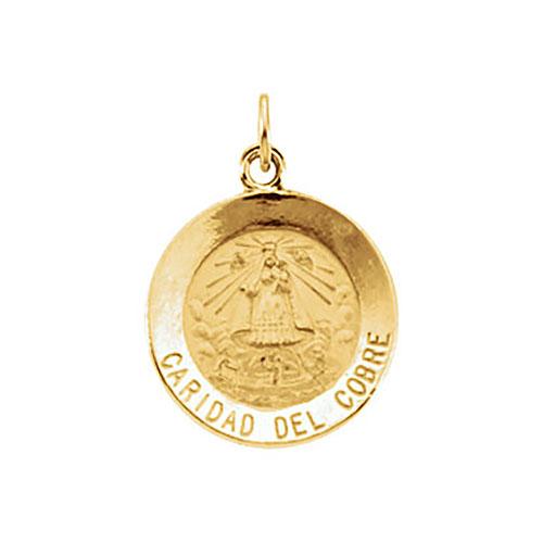 14k Yellow Gold Caridad Del Cobre Medal 15mm