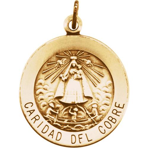 14k Yellow Gold Caridad Del Cobre Medal 18mm
