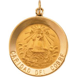 14k Yellow Gold Caridad Del Cobre Medal 22mm