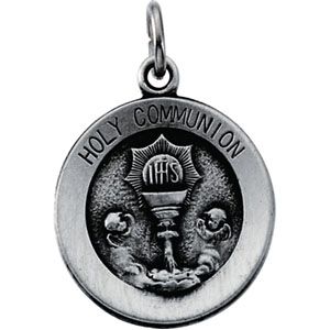 Sterling Silver 14.75mm Holy Communion Medal & 18in Chain