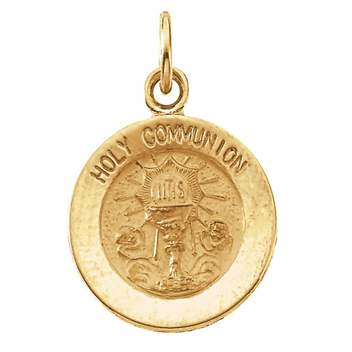 14k Yellow Gold Holy Communion Medal 12mm