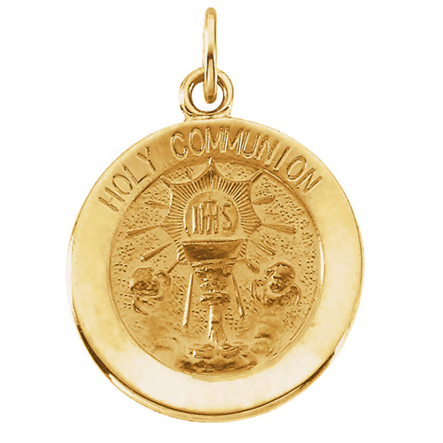 14KY Gold Holy Communion Medal 15mm