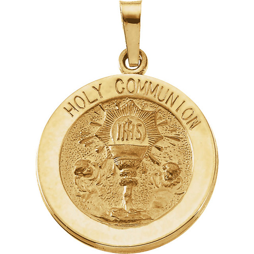 14KY Gold Holy Communion Medal 18mm