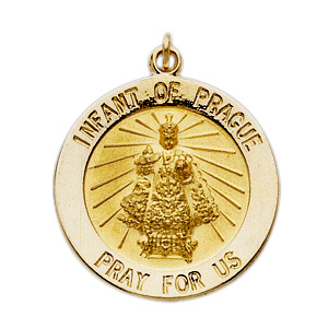14kt Yellow Gold 12mm Infant of Prague Medal