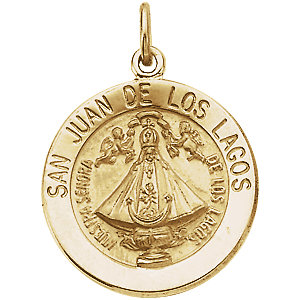 14k Yellow Gold San Juan de Los Lagos Medal 15mm