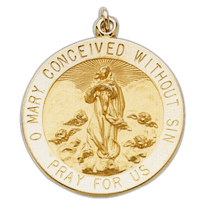 14k Yellow Gold 15mm Immaculate Conception Medal