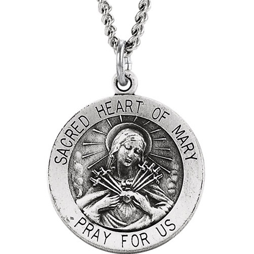 Sterling Sacred 3/4in Heart of Mary Medal & 18in Chain