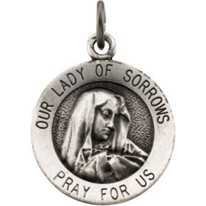 Lady of Sorrows Medal 14.75mm & Chain - Sterling Silver