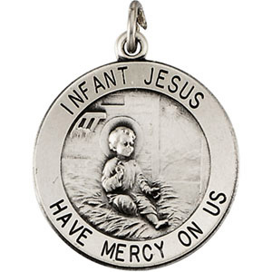 Infant Jesus Medal 18.5mm & 18in Chain Sterling Silver