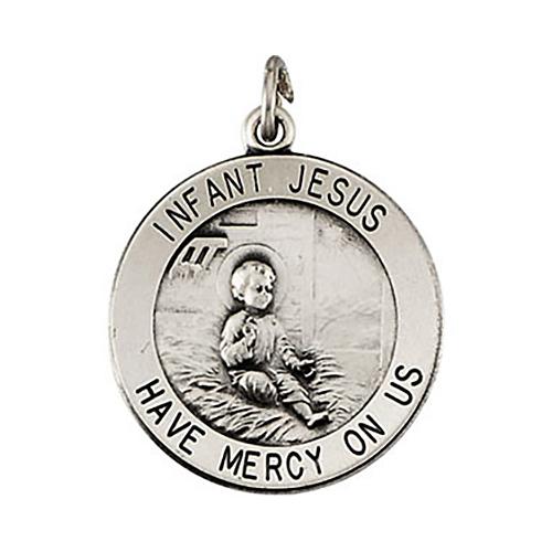 Infant Jesus Medal 18.5mm & Chain - Sterling Silver