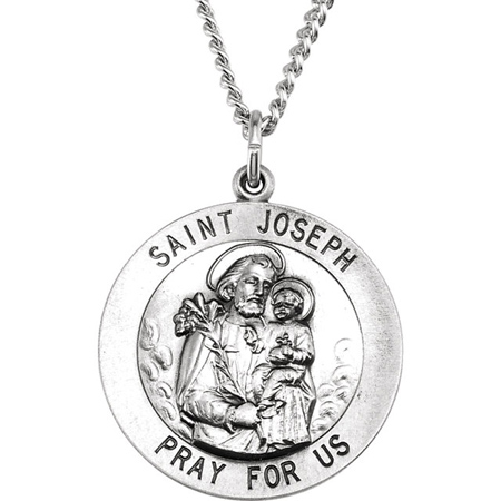 Sterling Silver St. Joseph Medal 25mm & 24in Chain