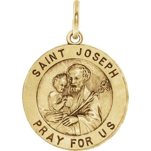 14kt Yellow Gold St. Joseph Medal 18mm