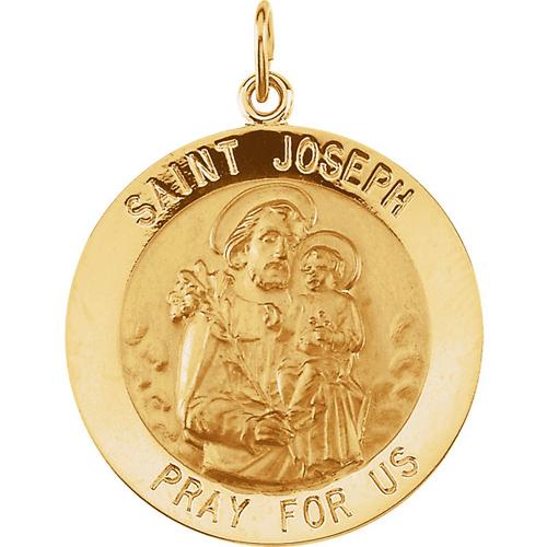 14kt Yellow Gold St. Joseph Medal 25mm