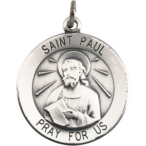 Sterling Silver 3/4in St. Paul Medal & 18in Chain