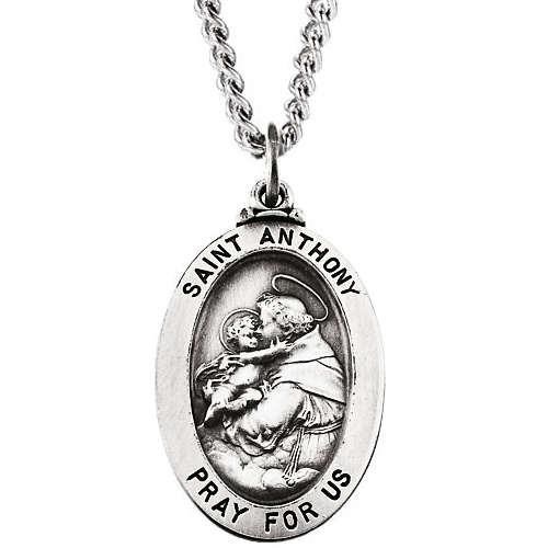 Sterling Silver 23mm St. Anthony Medal & 24in Chain