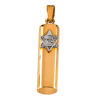 14kt Two-tone Gold 15x6mm Hollow Mezuzah Pendant
